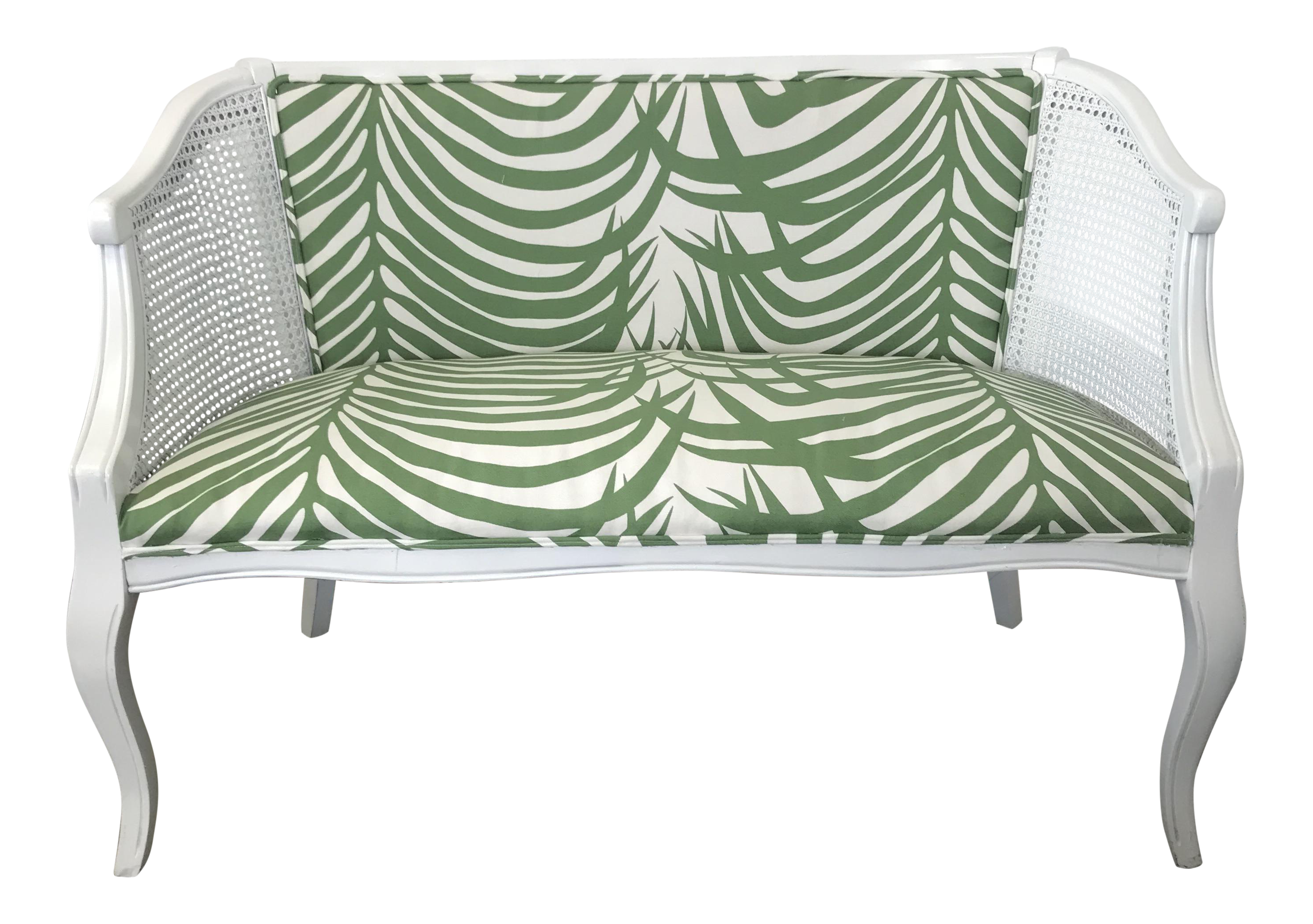white vintage couch. Vintage Mid-Century White Cane Back Settee Couch