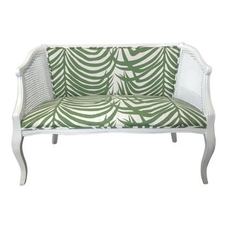 Vintage Mid-Century White Cane Back Settee - Schumacher Zebra Palm Fabric For Sale
