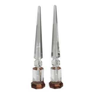 "30"" Crystal Obelisks With Antiqued Bases 1940s - a Pair For Sale"