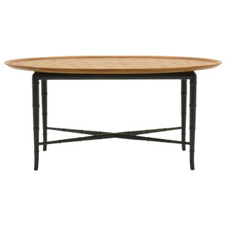Kittinger Coffee Table With Faux Bamboo Legs Incised Design on Top For Sale