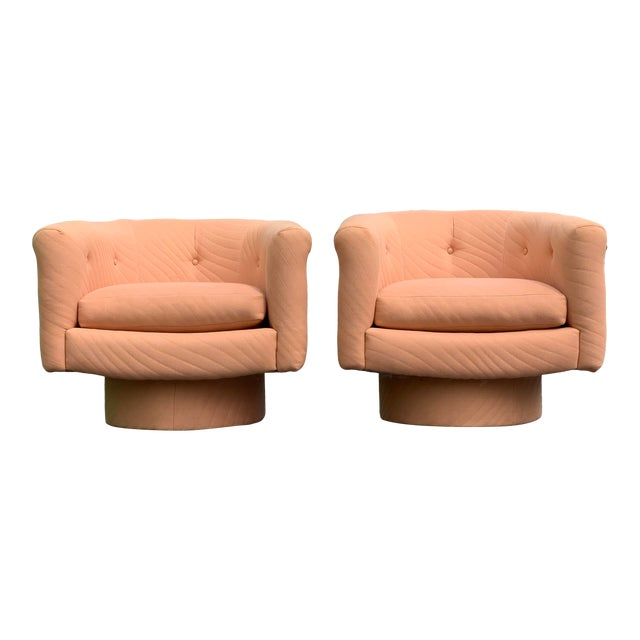 1970s Milo Baughman Style Tufted Swivel Lounge Chairs - a Pair For Sale