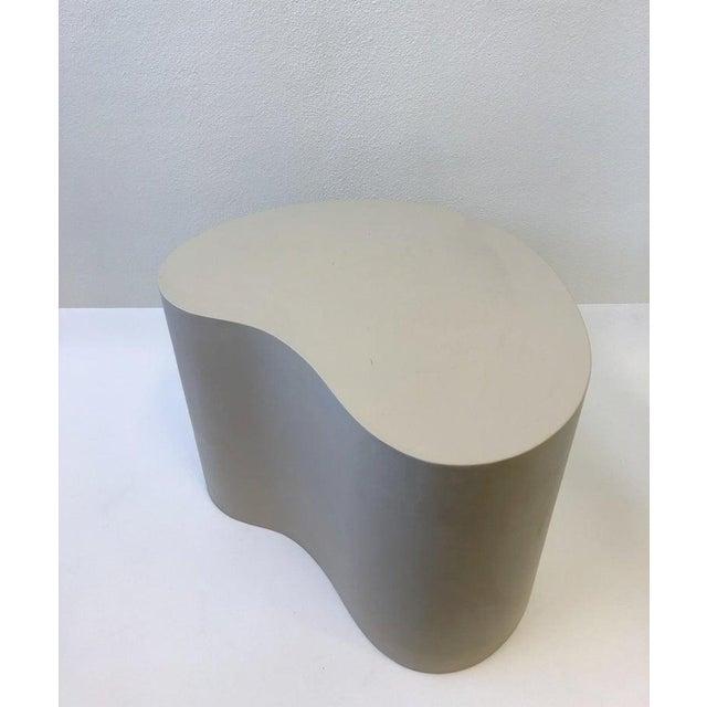 Leather Leather Kidney Shape Side Table by Karl Springer For Sale - Image 7 of 10
