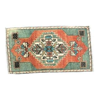 Vintage Anatolian Handmade Orange and Green Small Rug For Sale
