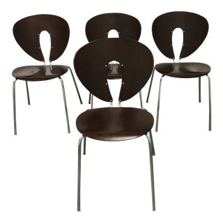 Design Within Reach Walnut Global Chairs- Set of Four For Sale
