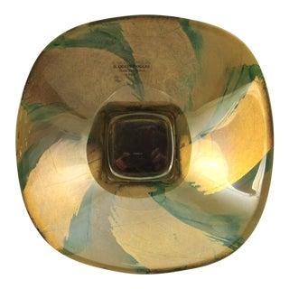 Vintage Italian Green & Gold Glass Bowl