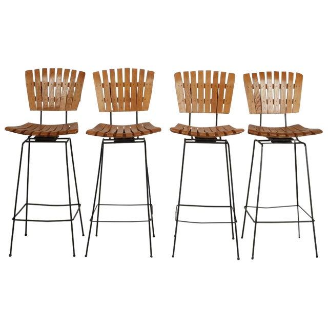 Arthur Umanoff Iron Slat Wood Swivel Bar Stools 4 - Image 1 of 6