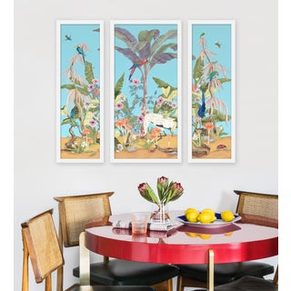 """Large """"Palm Beach Paradise, 3 Panels"""" Print by Allison Cosmos, 47"""" X 40"""" Preview"""