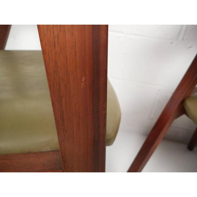 Mid-Century Modern Vinyl Barrel Back Chairs For Sale - Image 10 of 10