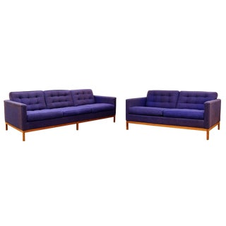 Mid-Century Modern Florence Knoll Pair of Tufted Blue Loveseat & Sofa Wood Base 1950s