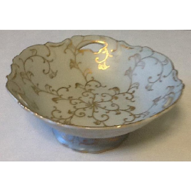Mid-Century Modern Vintage Lenwile-Ardalt Hand Painted Pale Blue With Gold Porcelain Bowl For Sale - Image 3 of 7