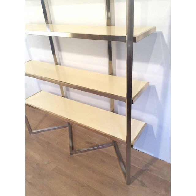 Chrome and Egg Shell Lacquered Etagere - Image 7 of 11