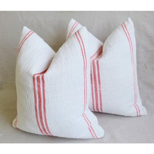 """French Homespun Rose/Pink Striped Grain Sack Feather/Down Pillows 19"""" X 21"""" - Pair For Sale - Image 10 of 13"""