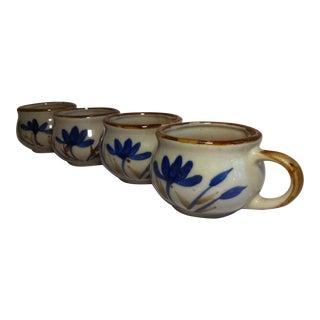 Vintage Stoneware Coffee Tea Mugs - Set of 4