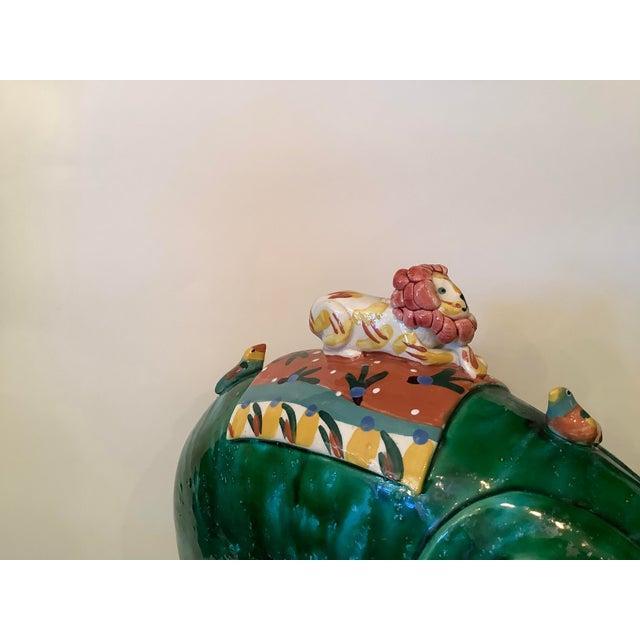 1980s Vintage Whimsical Glazed Ceramic Elephant Sculpture For Sale - Image 9 of 12