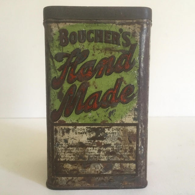"Green Vintage Early 1900's ""Boucher's Handmade"" Tobacco Tin Box For Sale - Image 8 of 11"