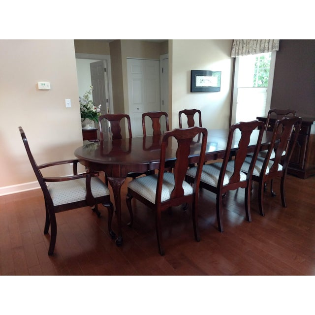 1990s Harden Solid Cherry Oval Table & Chairs Dining Set For Sale - Image 5 of 5
