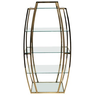 Mid-Century Modern Brass an Glass Etagere For Sale