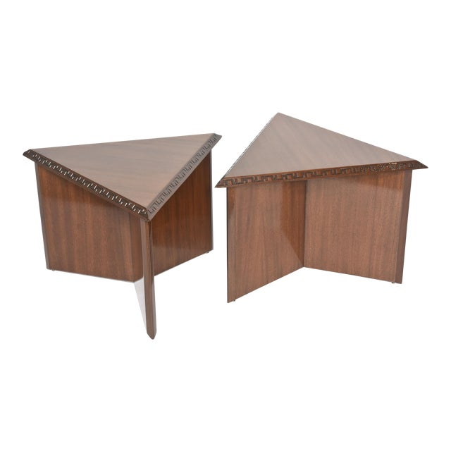"Pair of American Modern Triangular ""Talesin"" Low Tables, Frank Lloyd Wright For Sale"