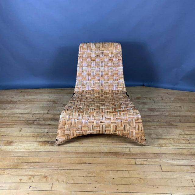 Continental Woven Cane and Blackened Steel Lounge Chair For Sale - Image 11 of 12
