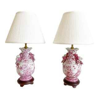 Mid-Century Toile Lamps & Shades - a Pair For Sale