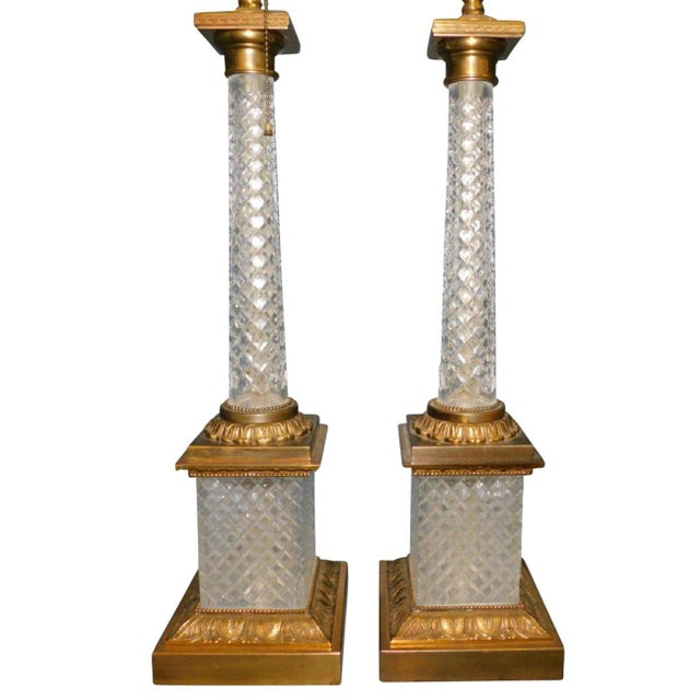 American Classical Cut Crystal & Gilt Bronze Lamps - A Pair For Sale - Image 3 of 4