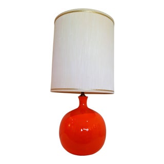1960 Modernist Orange Ball Lamp With Period Shade and Finial