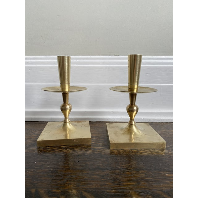 Mid 20th Century Mid 20th Century Mid Century Modern Tommi Parzinger Brass Candle Holders For Sale - Image 5 of 5