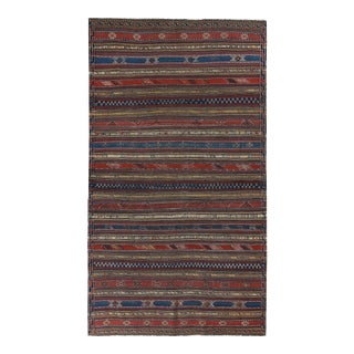 Turkish Kilim Rug With Navy & Red Stripes Decorated With Tribal Details For Sale