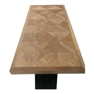 Modern Light Wood Dining Table With Geometric Inlayed Top For Sale