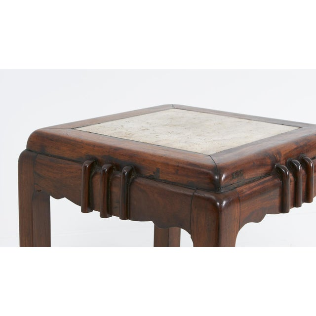"""White marble topped rosewood """"huali"""" stools with straight legs and horse hoof feet. Originated in Shanghai."""