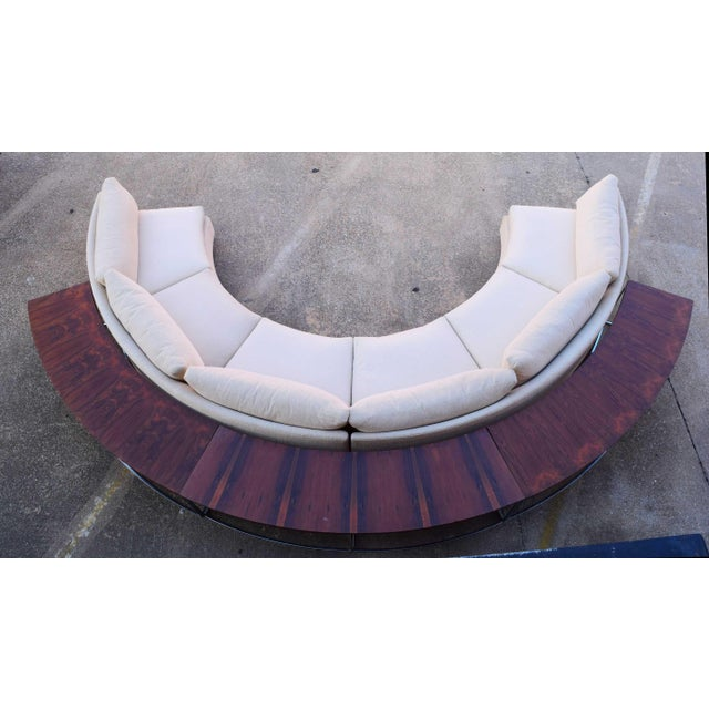 Mid-Century Modern 1960s Vintage Milo Baughman Semi-Circular Sofa With Rosewood Tables For Sale - Image 3 of 13