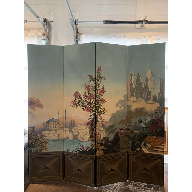 Vintage Maitland Smith Hand Painted 4 Panel Folding Screen For Sale - Image 13 of 13