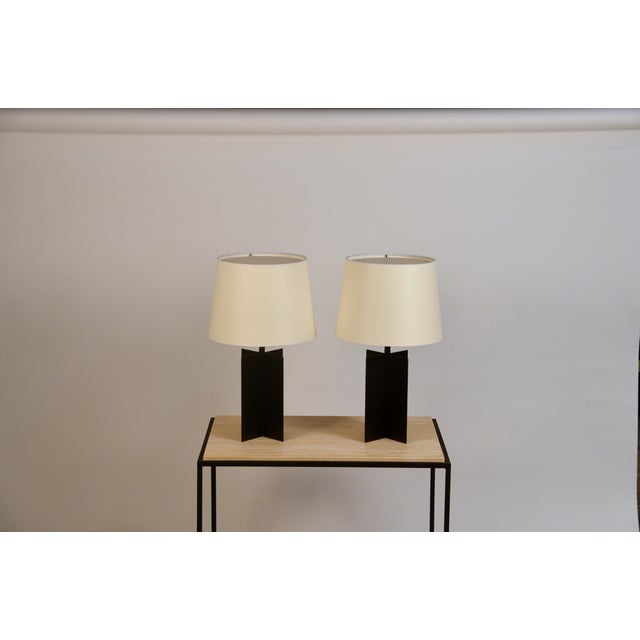 Early 21st Century Medium 'Croisillon' Matte Black Steel Table Lamps by Design Frères - a Pair For Sale - Image 5 of 11