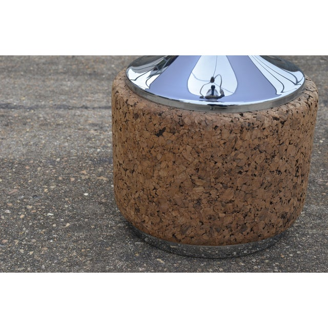 Brown 1960s Vintage Laurel Mid-Century Modern Cork & Chrome Table Lamp For Sale - Image 8 of 9