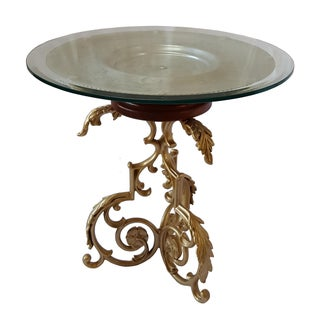 Mid 20th Century Glass & Cast Iron Side Table For Sale