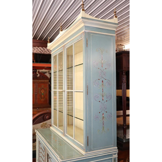 English Regency Style Paint Decorated China Cabinet For Sale - Image 9 of 13