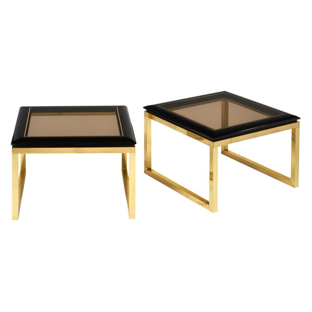 Pair of Mid-Century Smoked Glass Side Tables For Sale - Image 11 of 11
