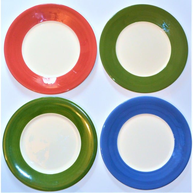 This is a great set of French porcelain chargers/chop house platters. This is a set of four in Menthe (forest green), Azur...