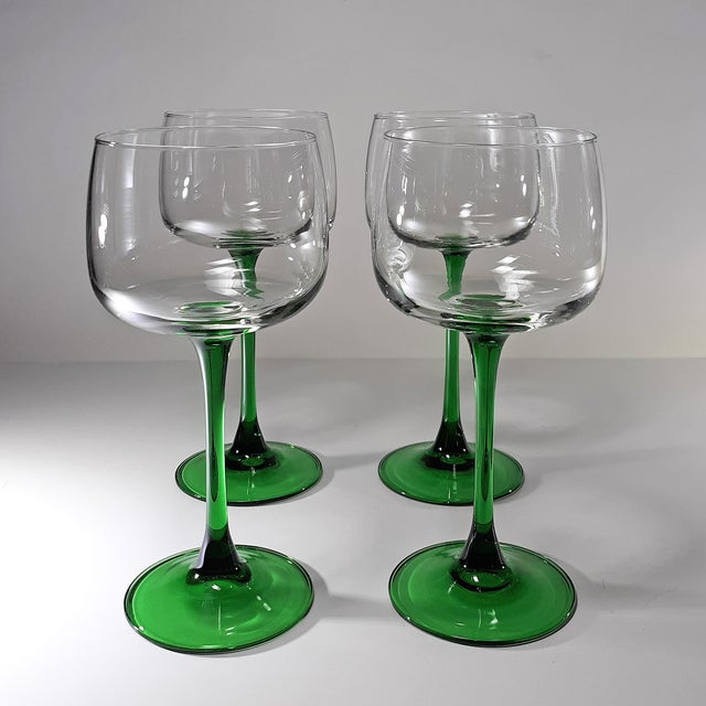 Glass Vintage French Green Stem Wine Glasses - Set of 4 For Sale - Image 7 of 7