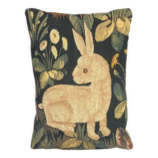 Vintage Decorative Rabbit Tapestry Throw Pillow For Sale