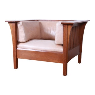 Stickley Mission Prairie Armchair With Tan Leather Upholstery For Sale