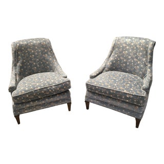 Vintage Mid-Century American Upholstered Lounge Chairs- A Pair For Sale