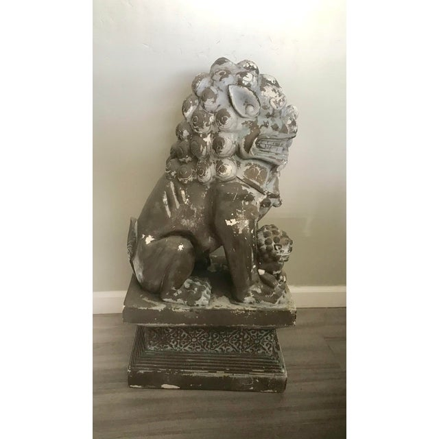 """Clay 33"""" H Large Weathered Vintage Gray Taupe Asian Foo Dogs - a Pair For Sale - Image 7 of 11"""