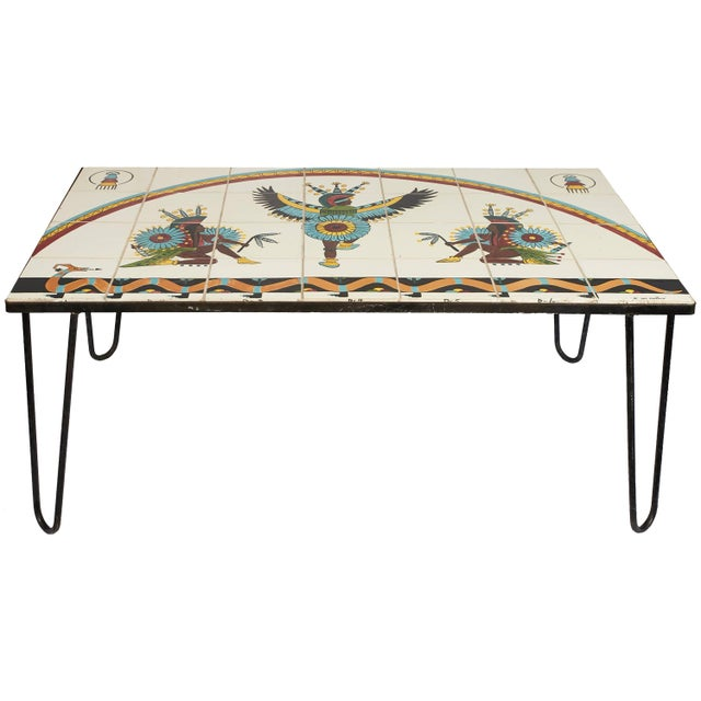 Mid-Century Modern, Tile Top Table with Hairpin Legs, by Kay Mallek For Sale - Image 4 of 4