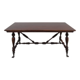 Early 20th Century Antique Cast Iron Claw and Glass Ball Feet Piano Bench For Sale