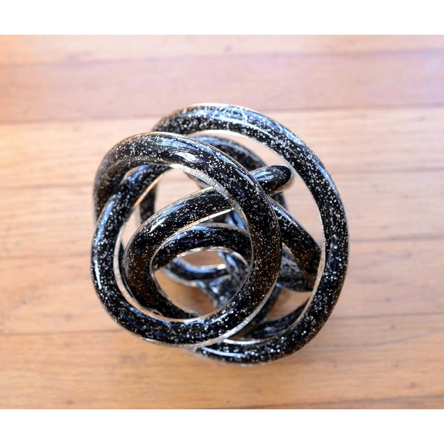 Black Vintage Black Murano Abstract Twisting Blown Glass Tube Sculpture For Sale - Image 8 of 10