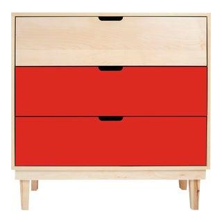 Nico & Yeye Kabano Modern Kids 3 Drawer Dresser Maple Red For Sale