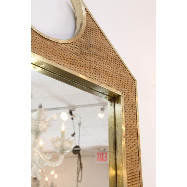 Brass Two Large French Braided Rattan Frame Mirrors For Sale - Image 7 of 10