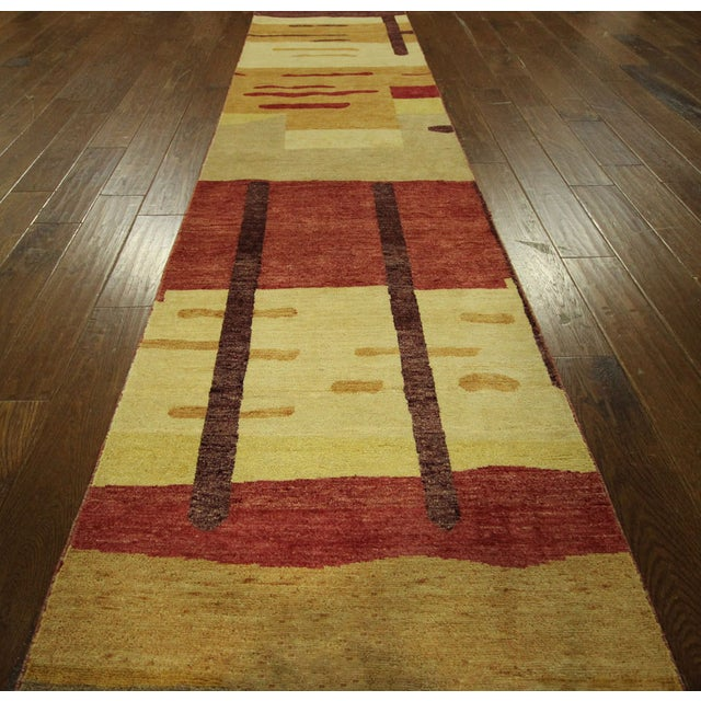 "Abstract Modern Runner Gabbeh Rug - 2'6"" x 10'1"" - Image 6 of 9"