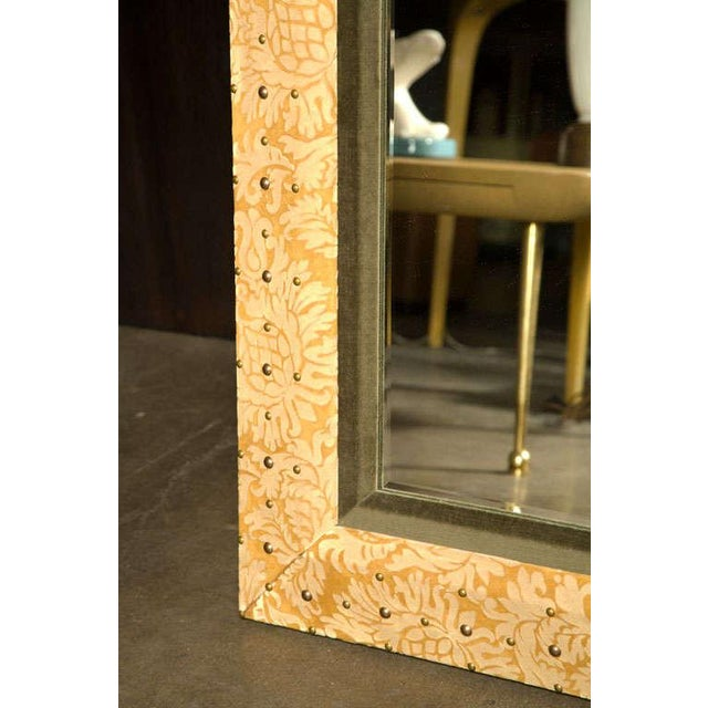 Paul Marra Suede & Velvet Mirror. Limited edition of this mirror featuring Italian damask suede with velvet and antiqued...